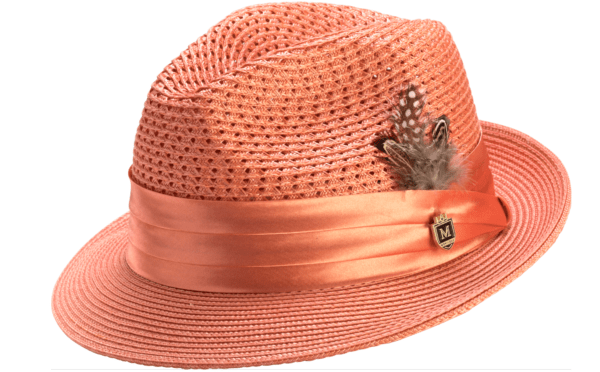 montique-h-34-mens-straw-fedora-hat-coral-with-matching-satin-ribbon