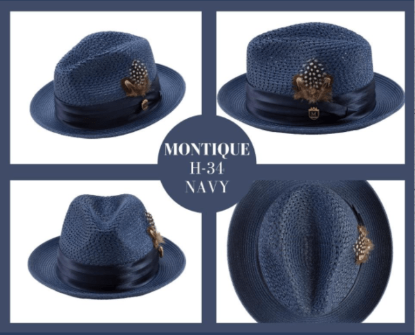 Montique H 34 Mens Straw Fedora Hat Navy With Matching Satin Ribbon 4 600x485, Abby Fashions