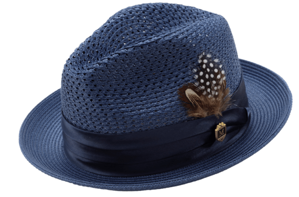 Montique H 34 Mens Straw Fedora Hat Navy With Matching Satin Ribbon 600x395, Abby Fashions