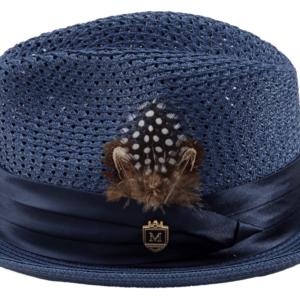 Montique H-34 Mens Straw Fedora Hat Navy – Pinch Braided Hat