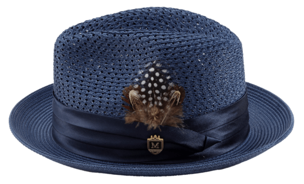Montique H 34 Mens Straw Fedora Hat Navy With Matching Satin Ribbon B 600x364, Abby Fashions