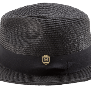 Montique H-42 Mens Straw Hat Black – Wide Brim Pinch Hat