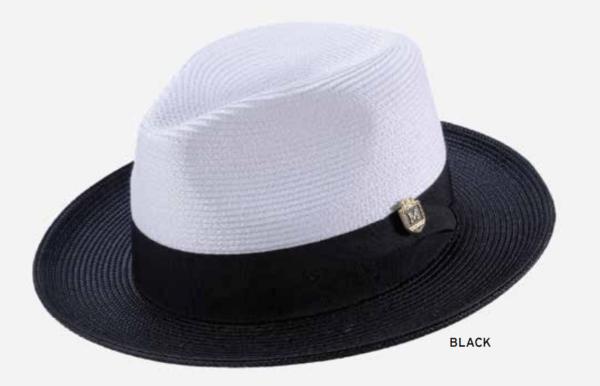 montique-h-47-mens-straw-fedora-hat-black-white-two-tone-wide-brim-pinch-hat