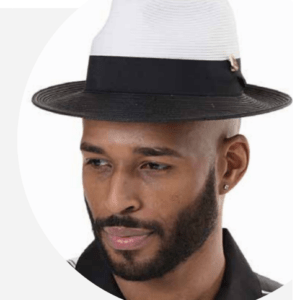 Montique H-47 Mens Straw Fedora Hat Black-White – Wide Brim Pinch Hat