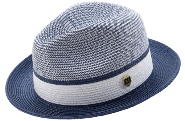 Montique H 22 Mens Straw Fedora Hat Navy Two Tone Pinch Fedora Hat 1 600x393, Abby Fashions