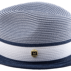 Montique H-22 Mens Straw Hat Navy – Two Tone Braided Stingy Brim Pinch Fedora Hat