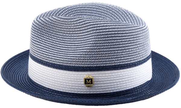 Montique H 22 Mens Straw Fedora Hat Navy Two Tone Pinch Fedora Hat 2 600x357, Abby Fashions