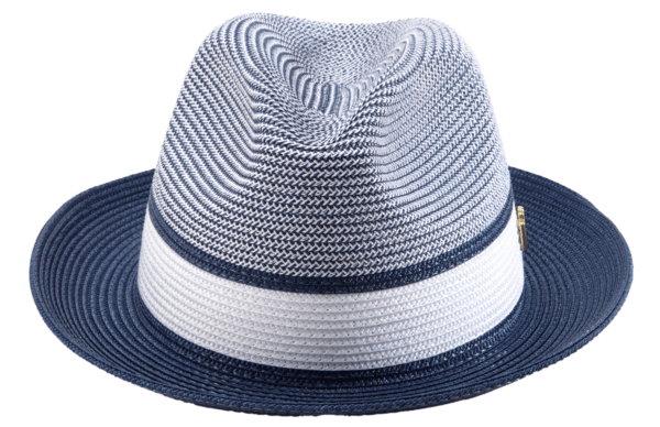 Montique H 22 Mens Straw Fedora Hat Navy Two Tone Pinch Fedora Hat 3 600x388, Abby Fashions