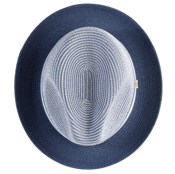 Montique H 22 Mens Straw Fedora Hat Navy Two Tone Pinch Fedora Hat 4 600x598, Abby Fashions