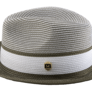 Montique H-22 Mens Straw Hat Olive – Two Tone Braided Stingy Brim Pinch Fedora Hat