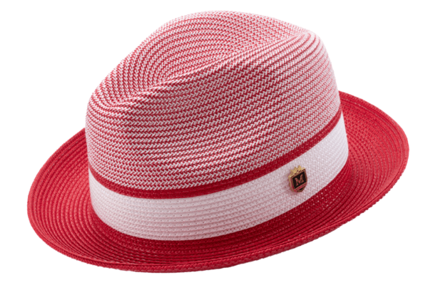 Montique H 22 Mens Straw Fedora Hat Red Two Tone Pinch Fedora Hat 1 600x400, Abby Fashions