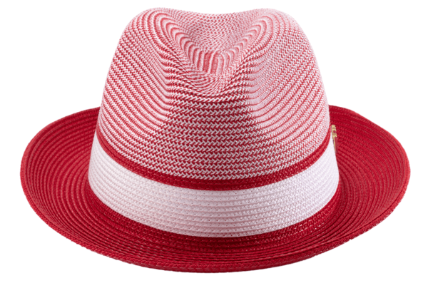 Montique H 22 Mens Straw Fedora Hat Red Two Tone Pinch Fedora Hat 2 600x404, Abby Fashions