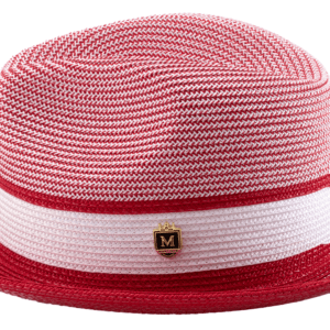 Montique H-22 Mens Straw Hat Red – Two Tone Braided Stingy Brim Pinch Fedora Hat
