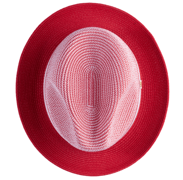 Montique H 22 Mens Straw Fedora Hat Red Two Tone Pinch Fedora Hat 4 600x589, Abby Fashions