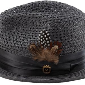 Montique H-34 Mens Straw Fedora Hat Grey – Pinch Braided Hat
