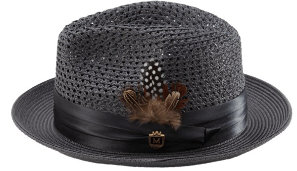 Montique H 34 Mens Straw Fedora Hat Grey With Matching Satin Ribbon C 600x345, Abby Fashions