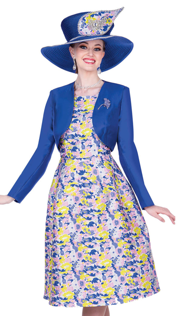 Champagne 5316 Ry Royal Blue Floral Print Dress With Bolero Jacket And Jewel Brooch 600x1043, Abby Fashions