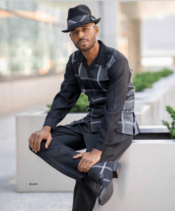 Montique Walking Suits 2126 Black Mens 2pc Leisure Suits, Abby Fashions