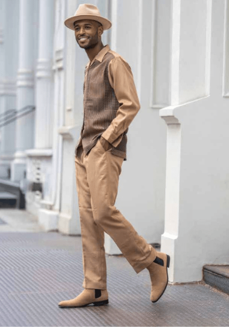 Montique Walking Suits 2149 Khaki Mens 2pc Leisure Suits, Abby Fashions