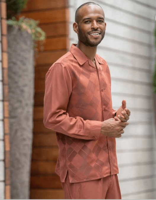 Montique Walking Suits 2156 Cognac Mens 2pc Leisure Suits, Abby Fashions