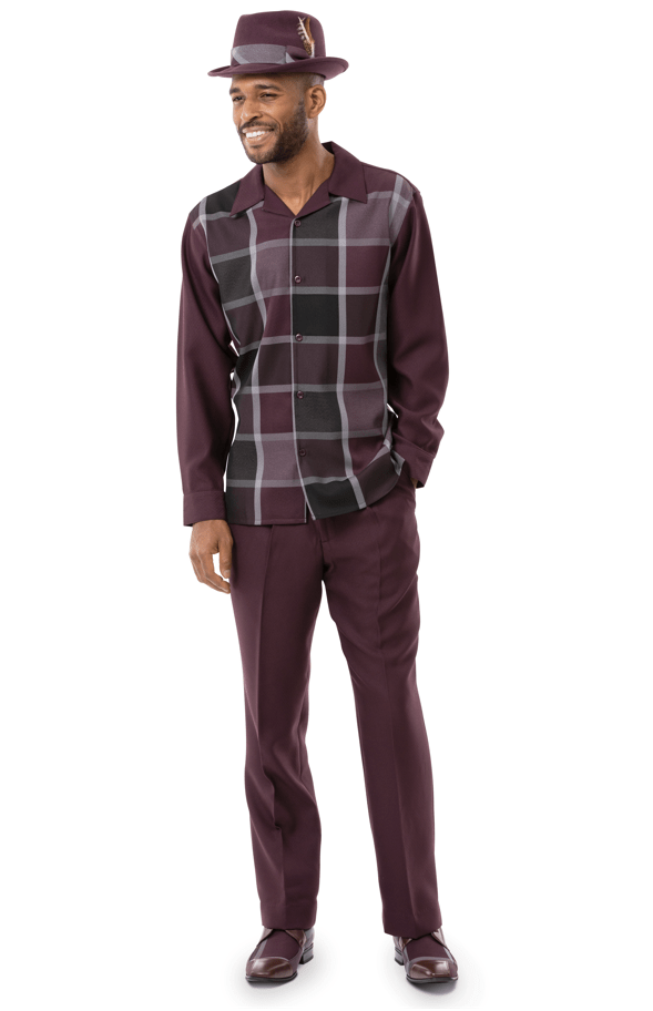 Montique Walking Suits 2126 Burgundy Long Sleeve Mens 2pc Leisure Suits, Abby Fashions