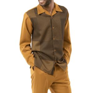 Montique 2009 Mens Walking Suits Mustard – Long Sleeve Mens Leisure Suits