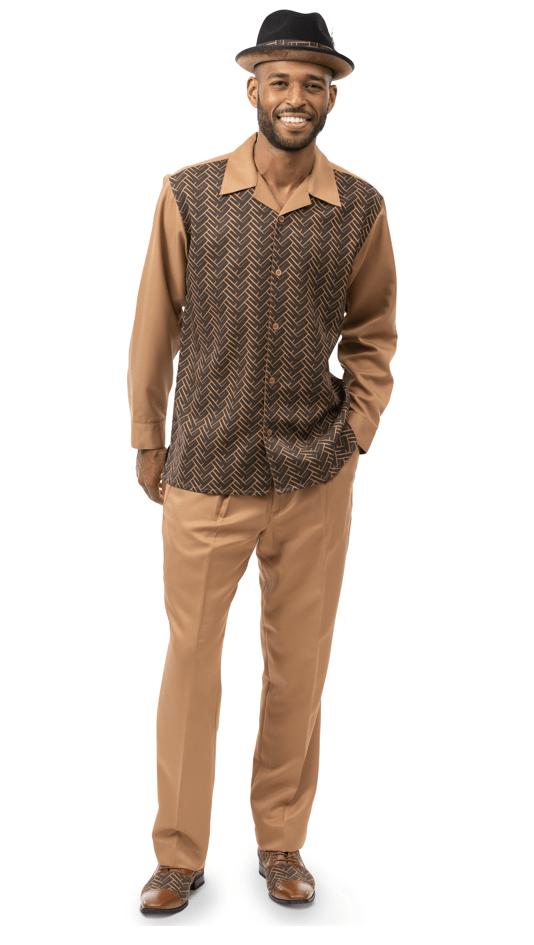 Montique Walking Suits 2177 Khaki Long Sleeve Mens 2pc Leisure Suits, Abby Fashions