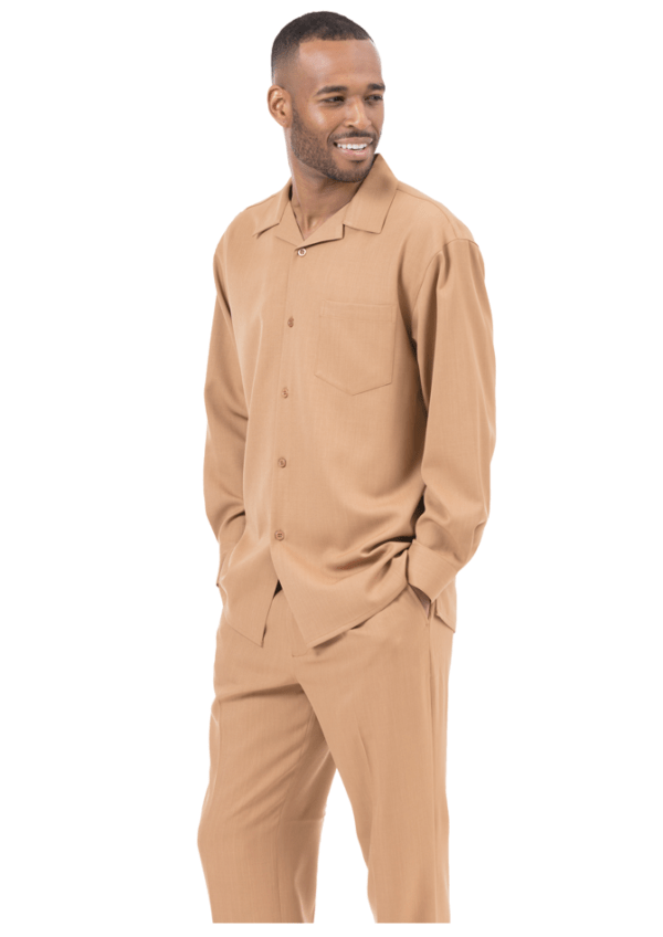 Montique Mens Walking Suits 1641 Tan Solid Mens 2pc Leisure Suits 600x848, Abby Fashions