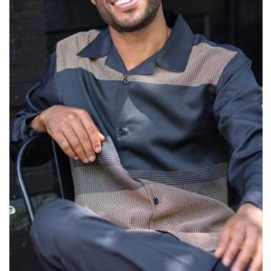 Montique 2151 Mens Walking Suits Khaki – Long Sleeve Mens Leisure Suits