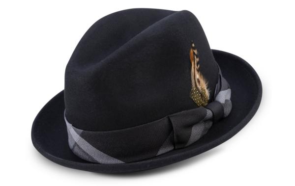 Montique H 2126 Matching Felt Hat Black Mens Godfather Hat 600x379, Abby Fashions