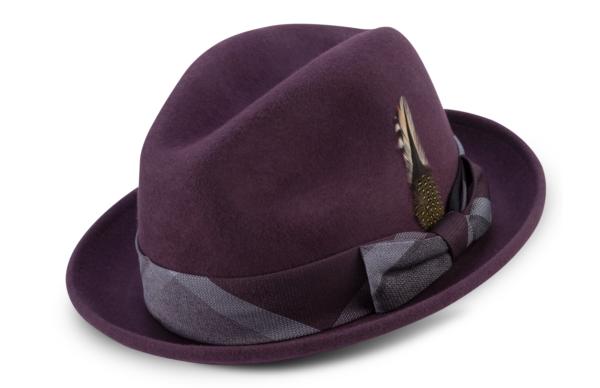 Montique H 2126 Matching Felt Hat Burgundy Mens Godfather Hat 600x388, Abby Fashions