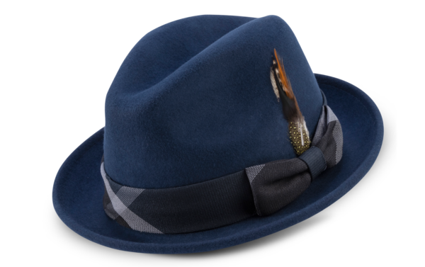 Montique H 2126 Matching Felt Hat Navy Mens Godfather Hat 600x377, Abby Fashions