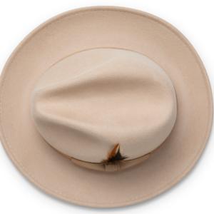 Montique H-60 Fedora Hat Beige – Light Felt Snap Brim 1/2 inches