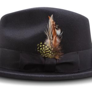 Montique H-60 Fedora Hat Black – Light Felt Snap Brim 1/2 inches