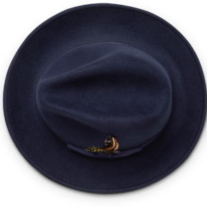 Montique H-60 Fedora Hat Navy – Light Felt Snap Brim 1/2 inches