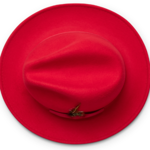 Montique H-60 Fedora Hat Red – Light Felt Snap Brim 1/2 inches